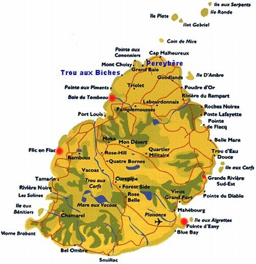 Carte de l'île Maurice