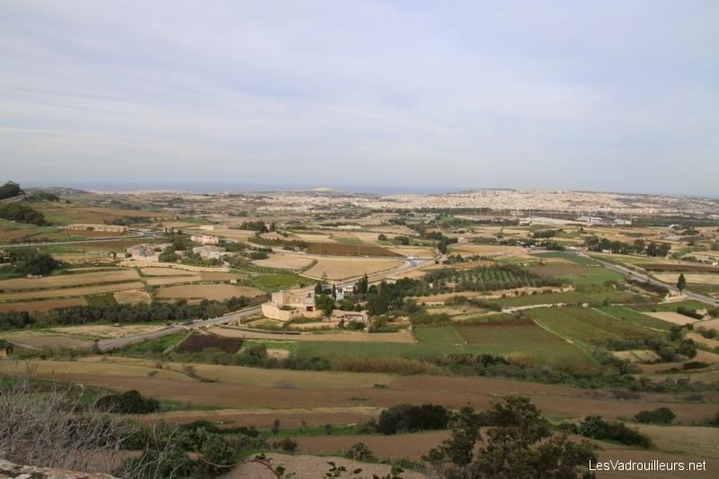 Vue sur l'île de Malte depuis Mdina