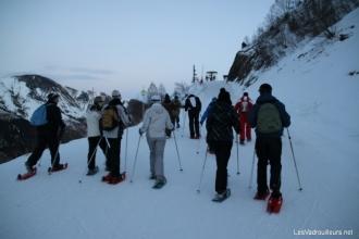 Arrivée sur une piste de ski