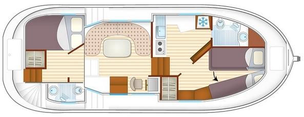 Plan de la pénichette P1020FB