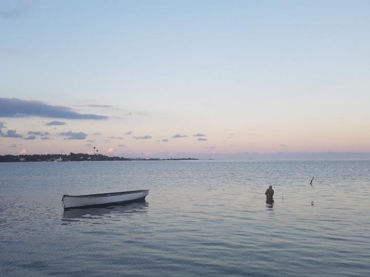 Ile Maurice : pêcheur à la pointe aux feuilles