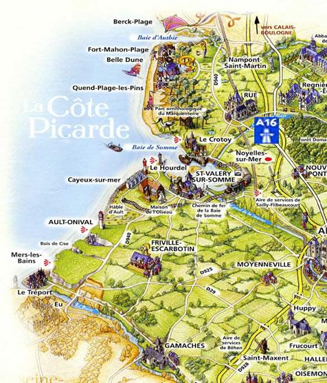 Baie de Somme : carte Côte Picarde