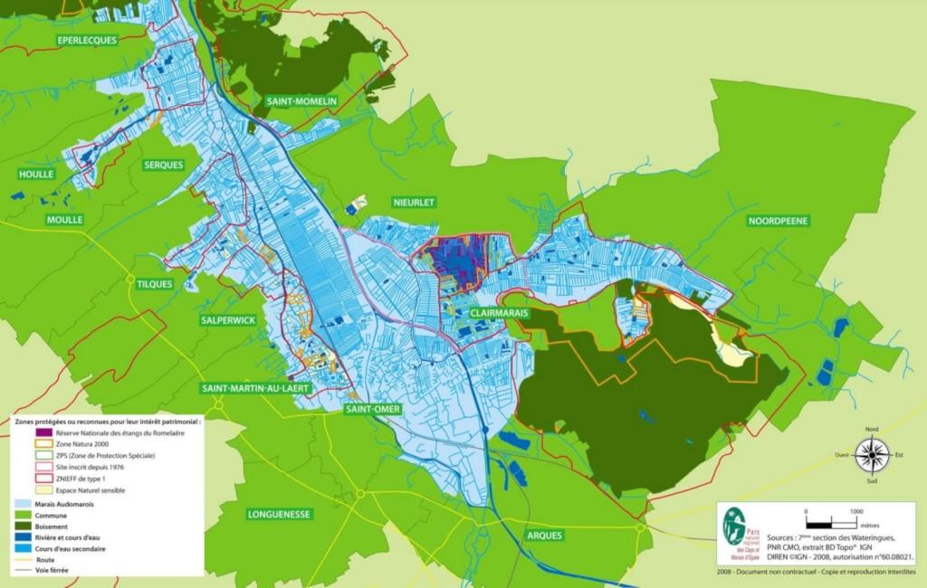 Audomarois : carte du territoire