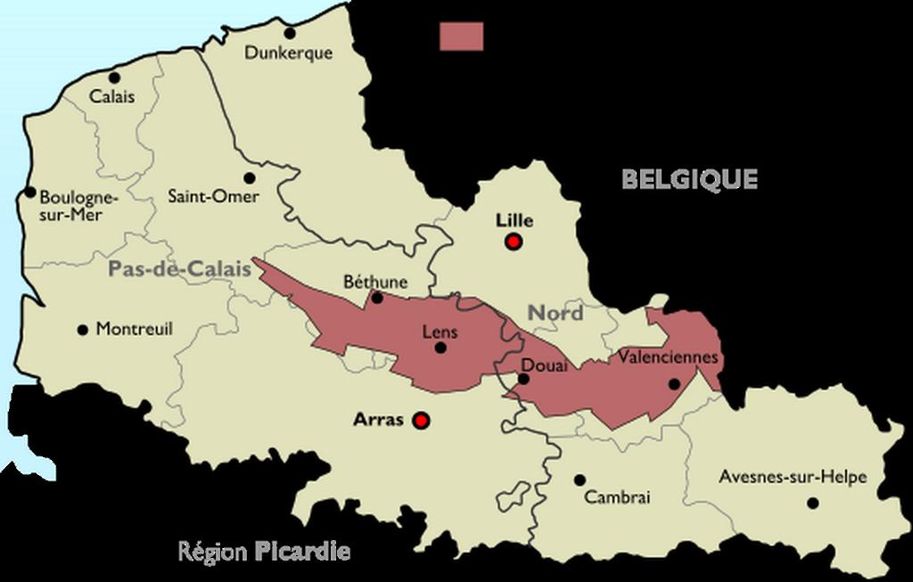 Hauts-de-France : carte du Bassin Minier