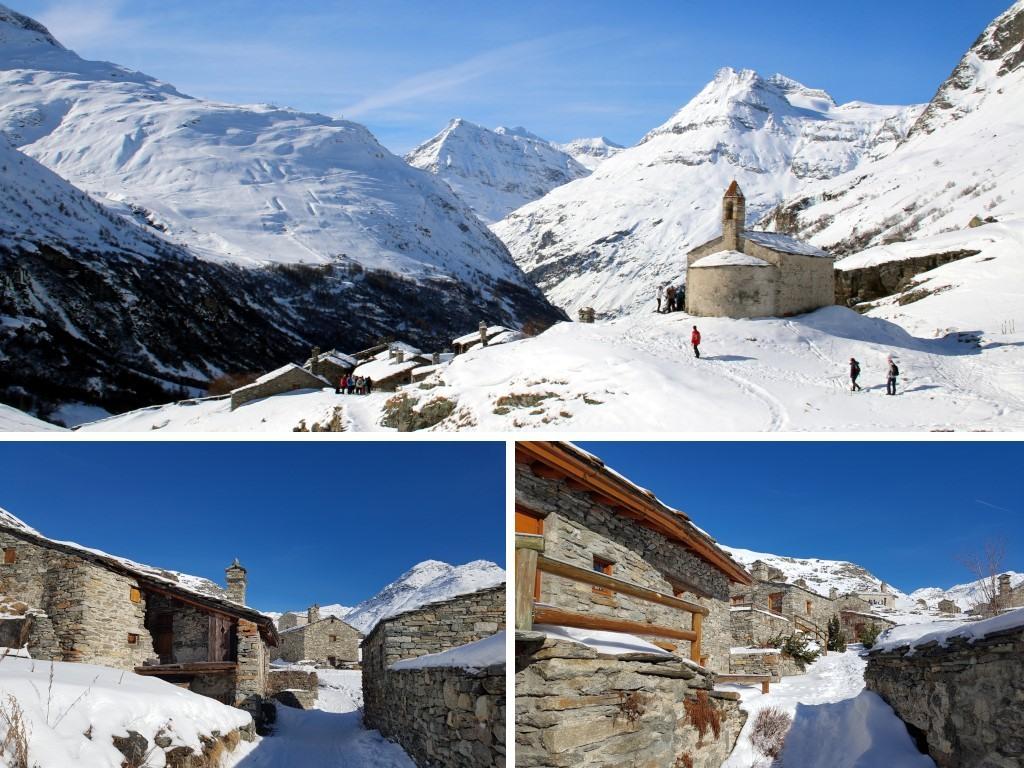 Bonneval sur Arc en hiver : hameau de l'Ecot